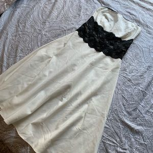 Cream/white and black lace strapless dress